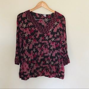 Floral Purple Boho 100% Rayon Stretch Top Sz XL